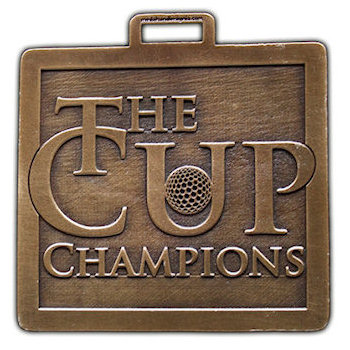 The Cup Champions Golf Bag Tag with Golf Ball centered on Letter U in the word Cup
