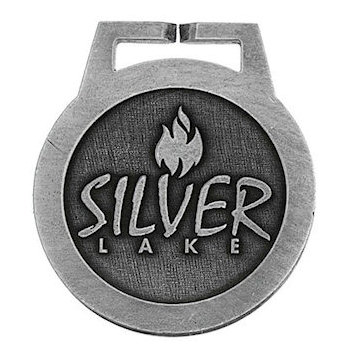 Silver Lake Round Golf Bag Tag with Flame of Fire Centered Over Text