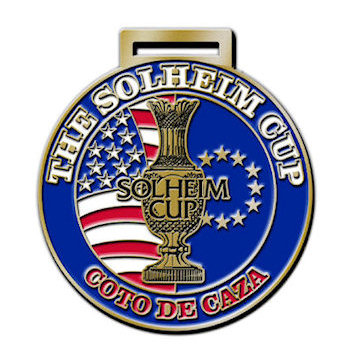 Solheim Cup Coto de Caza Golf Bag Tag with Patriotic United States of America Stars and Stripes Flag on Circular Bag Tag