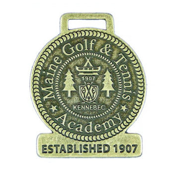 Maine Golf & Tennis Academy Golf Bag Tag with Crest Centered on Bag Tag