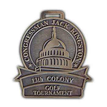 Washington State Capital etched on this Congressman Jack Kingston 13th Colony Golf Tournament Golf Bag Tag