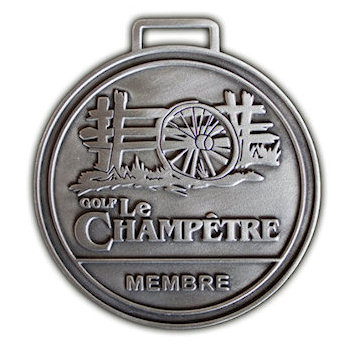 Golf Le Champetre Membre Bag Tag with Wooden Fence and Wagon Wheel on Scenic designed Golf Bag Tag