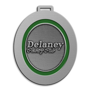 Delaney Country Club Golf Bag Tag with Oval Green Color Highlight