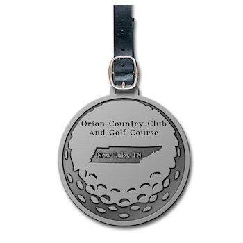 Orion Country Club and Golf Course Bag Tag with Etched Golf Ball Design