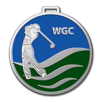 World Golf Course Bag Tag with Player in Poised Position to Hit Golf Ball on Green Grass and Blue Sky Background