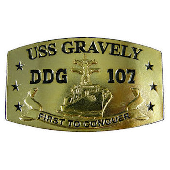 USS Gravely missile destroyer belt Buckle - DDg 107 - First To Conquer - Web Belt Buckle