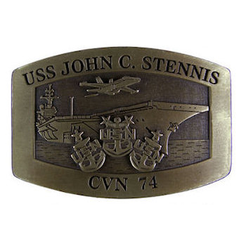 USS John C. Stennis  - CVN - Nuclear-powered supercarrier belt buckle