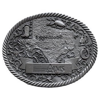 Intricate western style belt buckle with outline of Texas state