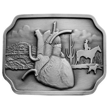 Heart organ on western theme belt buckle