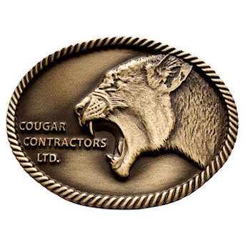 3D Cougar head contractor belt buckle with rope border