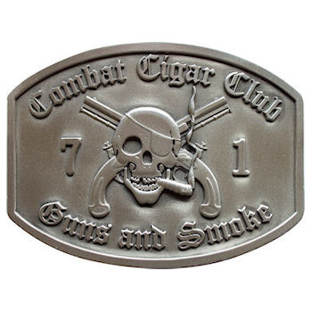 United States Army Club belt buckle with 3D skull smoking cigar and crossed guns