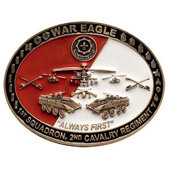 War Eagle 3 D Military Tribute Buckle - 1st Squadron, 2nd Cavalry Regiment