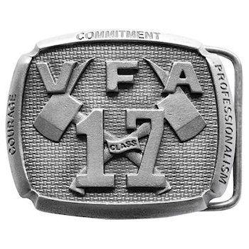 VFA 17 class firefighters belt buckle with 3D crossed axes