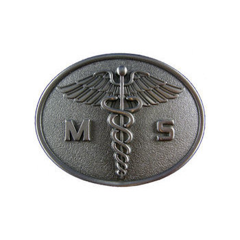 Belt buckle with 3D caduceus medical symbol
