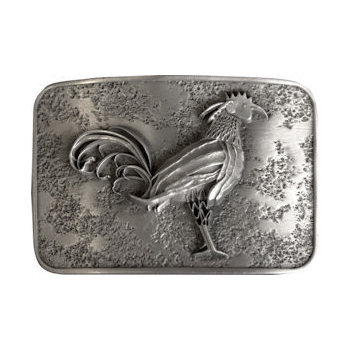 Rooster centered on textured belt buckle