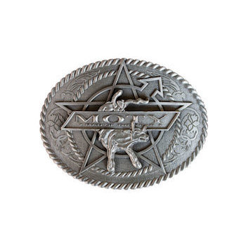 Man of the year Western style belt buckle with rope border, star background and rodeo cattle
