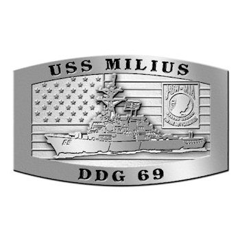USS Milius guided missile destroyer belt buckle