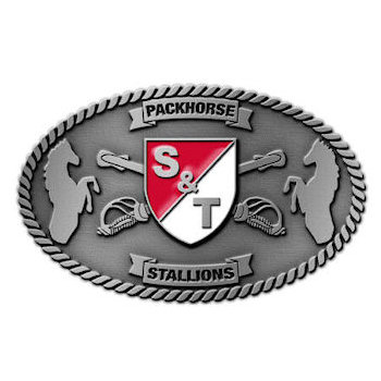 Army S & T Packhorse Stallions Belt Buckle with Crest and Crossed Sabres with Rope Border