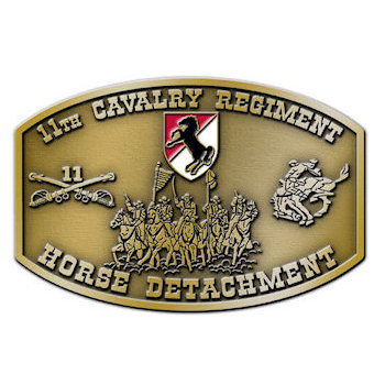 Horse Detachment Army Belt Buckle with Crossed Sabres