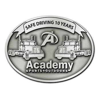Safe Driving Ten Years Long Haul Trucking Belt Buckle with Two Truck Cabs detailed on Buckle