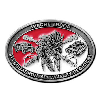 4th Squadron, 4th Cavalry Regiment Army Belt Buckle with Jeep and Tank