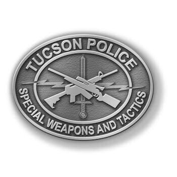 Special Department Police Belt Buckle with Crossed Guns centered on Buckle