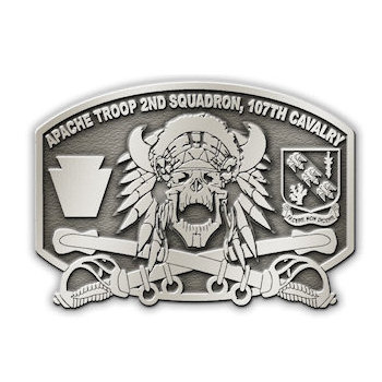 Crossed Sabres engraved on this Apache Troop Belt Buckle
