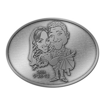 Bride and Groom are photo etched on this Wedding Belt Buckle