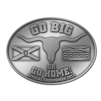 Groomsman Country Theme Belt Buckle with Longhorn Steer and Flags