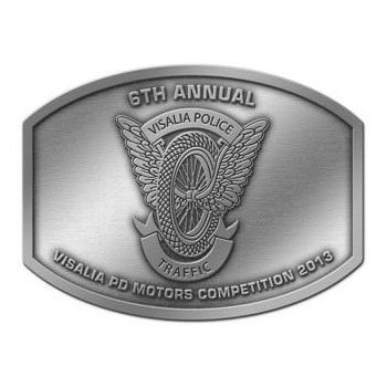 Commemorative Annual Police Traffic Competition Belt Buckle with Eagle Wings and Motorcycle Tire Design