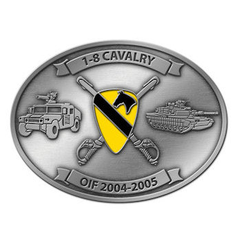Crossed Sabres and Crest on this Cavalry Army Belt Buckle