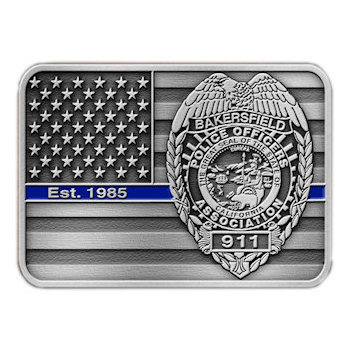 American Police Officers Belt Buckle with Stars and Stripes and Police Crest