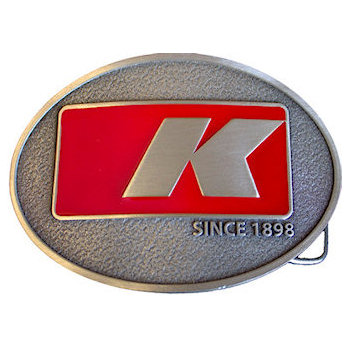 Oval belt buckle with color accent and letter for Industry