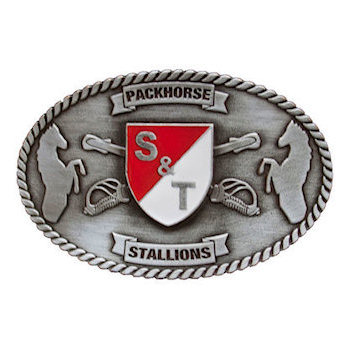 Army belt buckle with red and white crest behind crossed sabres