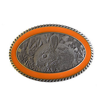 rabbit eating grass belt buckle with orange color fill border