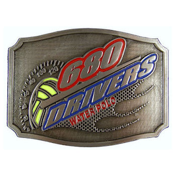 Water sports belt buckle with accent color fill