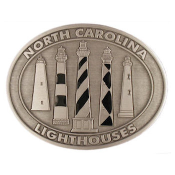 Lighthouses on oval belt buckle
