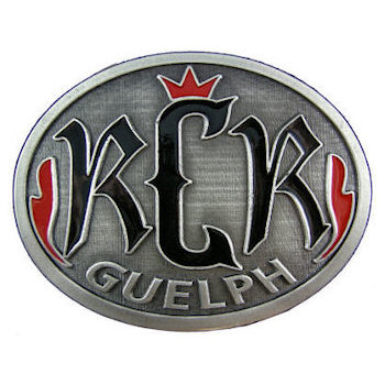 Guelph Royal City Riders Motorcycle belt buckle with accent color fill