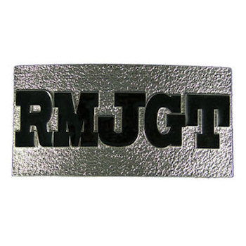 Capital letters highlight this belt buckle with color fill accent