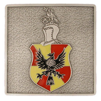 Knights head of armor with colorful shield belt buckle