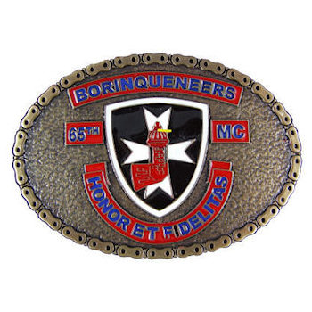 Motorcyle club belt buckle with shield and cross in middle of oval design with color fill