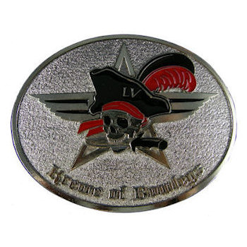 Oval belt buckle with skull and pirate hat with feather centered over star with stippled background