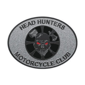 Oval motorcycle club belt buckle with skull and axe on stippled background