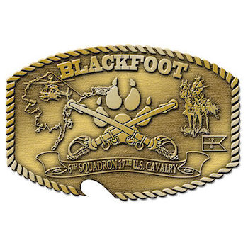 Army belt buckle with bottle opener