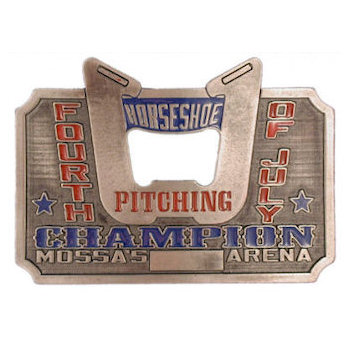 Horseshoe Champion belt buckle with bottle opener