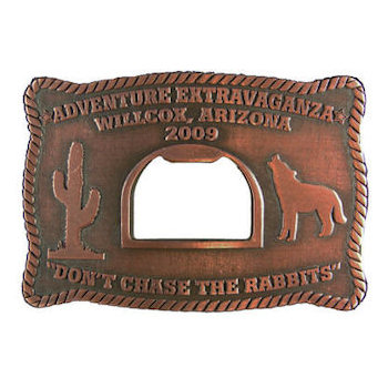 Western belt buckle with cactus and bottle opener