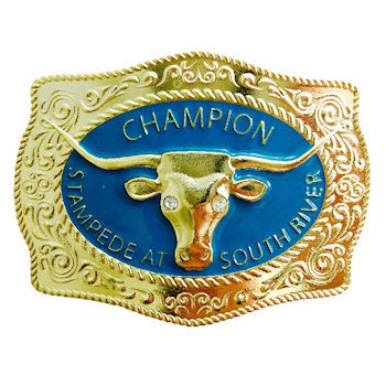 Longhorn Cattle Head Centered on this Intricately Detailed Border Champion Stampede At South River Belt Buckle