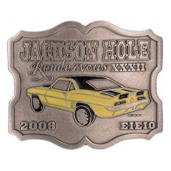 Jackson Hole car show belt buckle