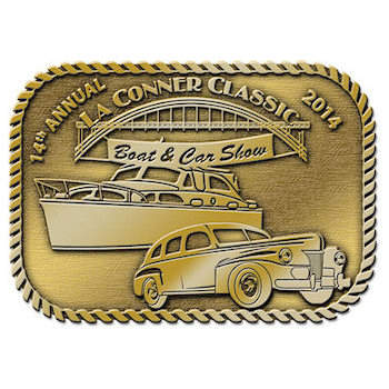 Classic boat and car show buckle with rope border