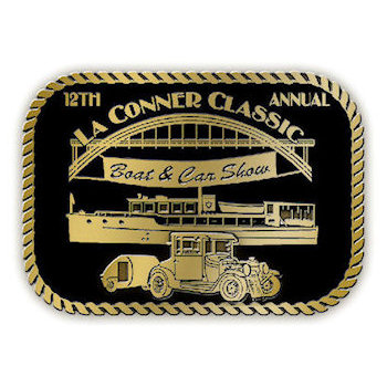Classic boat and car show belt buckle with color accent